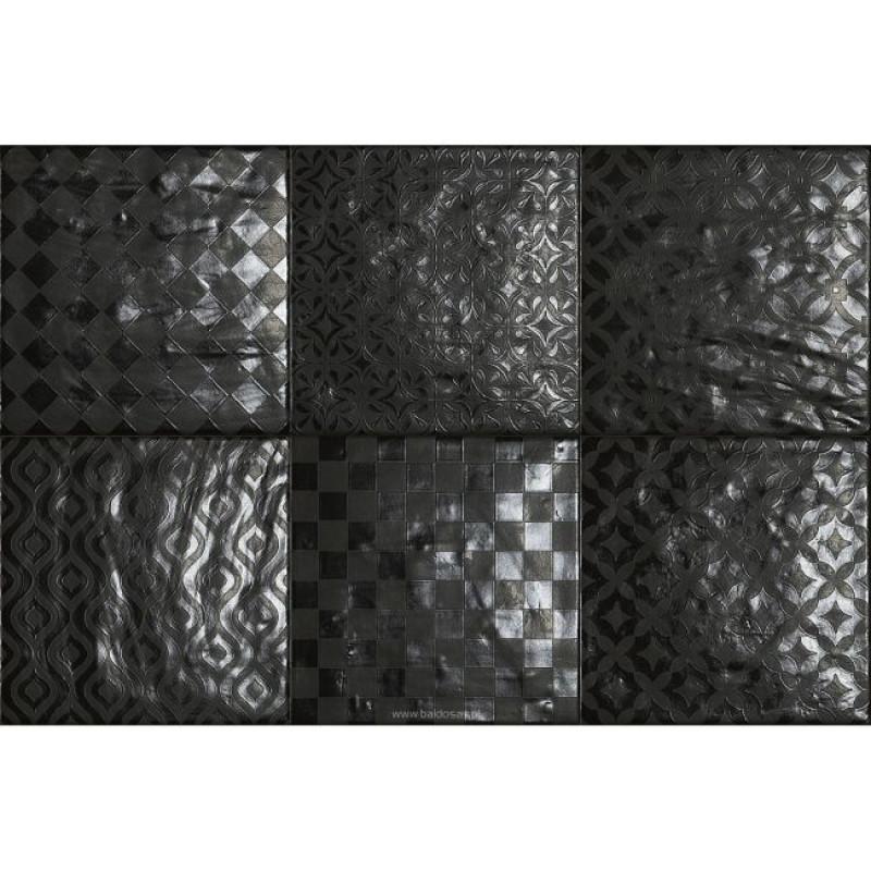 Bestile Tegel Modena Black (Mix Decors) 22,5x22,5