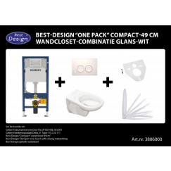 "Best-Design ""One pack"" Compact-49 cm wandcloset-combinatie wit"