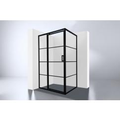 """Best-Design Douchecabine Zwart """"Zeplin-1200"""" met nisdeur 1200x900x2100x8mm"""