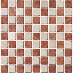 Mozaiek mos 31mm rosso botticino 30x30cm