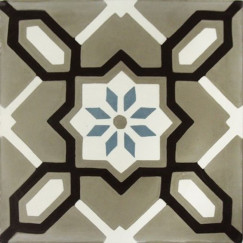 Cementtegels kashba kb2-ch26 flower decor blw-grijs 20x20