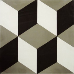Kashba Marrakech Cementtegel  3-dimensionaal décor 20x20x1.5cm, grijs-zwart