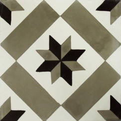 Cementtegels kashba kb5-ch13 ster decor grijs-zwart 20x20