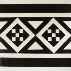 Kashba Marrakech Cementtegel  rand décor zwart 20x20x1.5cm, zwart