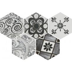 Vloertegels toscane vintage blanco zeskant 25,8x29