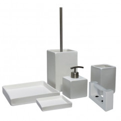 L'aquaBadkamer-/toiletaccessoiresset Square 6-delige wit keramiek