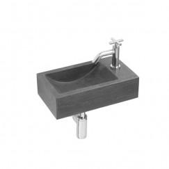 L'aqua Fonteinset hardsteen werner 23x40x11cm, compleet met verchroomde kraan en sifon