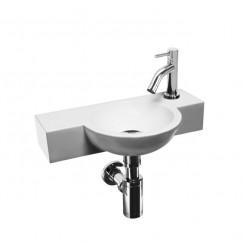 Laqua Fonteinset Magus Toilet 23x40x8cm Wit Keramiek, compleet met verchroomde kraan en sifon