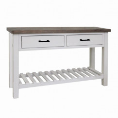 Home deco sidetable 2 lades wit 130x40x75cm
