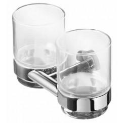 Geesa Nemox dubbele glashouder met 2 glazen chroom Chroom 916522-02