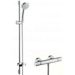 Hansgrohe Croma 100 doucheset eco 90cm met thermostaat chroom Chroom 27033000