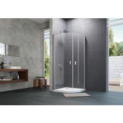 Huppe Design Pure draaideur kwartrond helft 100x200 r55 ma.zi-helder Mat Zilver 8P1612087321