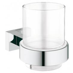 Grohe Essentials Cube glashouder met glas chroom Chroom 40755001