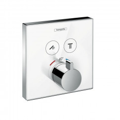 Hansgrohe Showerselect Glass afdekset thermostaat 2 functies glas wit-chroom Wit Chroom 15738400