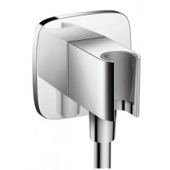 Hansgrohe Fixfit porter e handdouchehouder met muuraansluitbocht Chroom 26485000