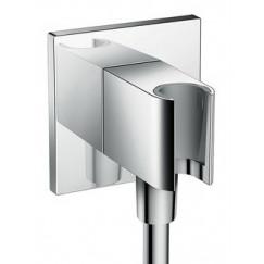 Hansgrohe Fixfit porter square handdouchehouder met muuraansl.bocht Chroom 26486000