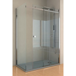 Kinedo Kinestyle schuifdeur 140x90x200 met vaste wand + paneel Helder Glas PA1714CTNE