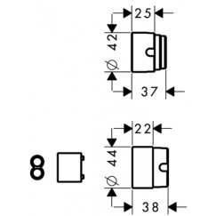 Hansgrohe  verlengset voor inbouw wandkraan 13622180 chroom Chroom 31971000