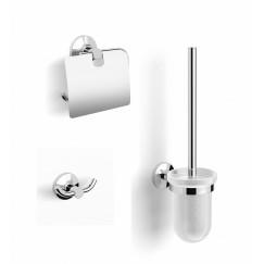Novio Arles toiletset m/haak - closetrolhouder - borstelhouder Chroom