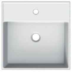 Novio Legato 2.0 wastafel 46x46 cm. met 1 kraangat met overloop wit Wit