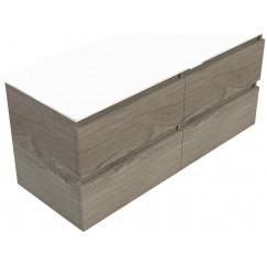 Novio Gino wastafelonderkast 120x46 cm. 4x lade zilver eiken Zilver Eiken
