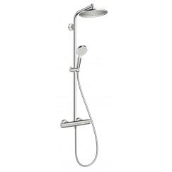 Hansgrohe Crometta 240 1jet showerpipe m/thermostaat ecosmart chroom Chroom 27268000