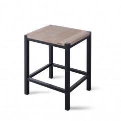 Looox Wood Collection douche stool 35x30x45 +frame matzwart eik-matzwart Eiken Mat Zwart WSTOOLMZ