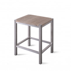 Looox Wood Collection douche stool 35x30x45 m/frame geb.rvs eik geb.rvs Eiken Geborsteld Rvs WSTOOLRVS