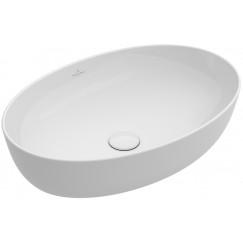 Villeroy & Boch Artis opzet wastafel ovaal 61 41cm zonder kraangat wit Wit 41986101