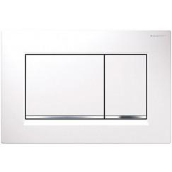 Geberit Sigma 30 bed.plaat 2-kn.kleur:plaat-strip-knop wit-chr.-wit Wit Chroom Wit 115.883.KJ.1
