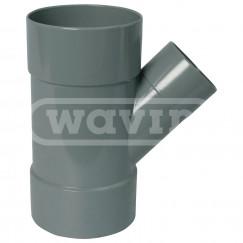 Wavin Wadal pvc lijm-t-stuk 75x50mm 45 graden grijs 3xmof Grijs 3102207054
