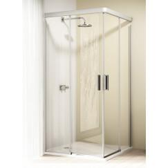 Huppe Design Elegance 2-dlg.hoekinstap schuifdeur 90x90x190 matzi-helder Mat Zilver 8E2902087321