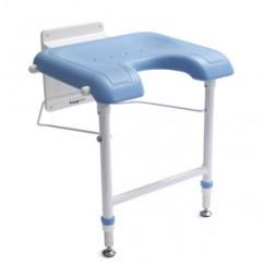 Handicare  douchezitting opklapbaar met hulppoot wit-blauw Wit Blauw 12226