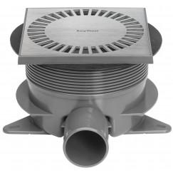 Easydrain Aqua Brilliant vloerput abs 15x15cm.zij-en onderuitloop rvs geb. Rvs Geborsteld AquaB-15x15