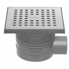 Easydrain Aqua Quattro vloerput abs 15x15 cm. horizontaal rvs geb. Rvs Geborsteld Aqua-15x15-MSI