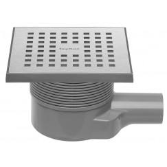 Easydrain Aqua Quattro vloerput abs 15x15 cm. horizontaal rvs geborsteld Rvs Geborsteld Aqua-15x15-MSI6