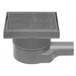 Easydrain Aqua Quattro Tegel vloerput abs 15x15 cm. horiz.117mm.hoog tegel/ rvs Rvs Tegel Aqua-15x15-MSI6-T