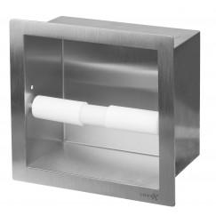 Looox Closed closetrolhouder inbouw vierkant rvs geborsteld Rvs Geborsteld CL4