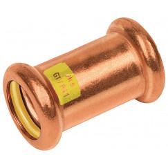 Bonfix Press Gas rechte koppeling 15 x 15 mm. pers roodkoper Roodkoper 500105