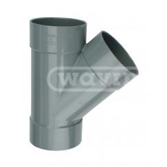 Wavin Wadal pvc lijm-t-stuk 75mm 45 graden grijs 3xmof Grijs 3102207004