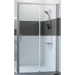 Huppe Classics 2 Easy Entry schuifdeur 120 x 200 cm. m/vast segment rechts Matzilver-helder Glas C25609087321