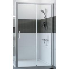 Huppe Classics 2 Easy Entry schuifdeur 140 x 200 cm. m/vast segment rechts Matzilver-helder Glas C25611087321