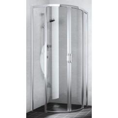 Kermi Liga kwartrond met schuifdeur 90/90x200 cm. r500 Zilver Glans-helder Glas LIC5009020VAK