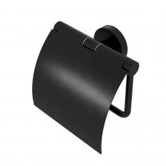 Geesa Nemox Black closetrolhouder met klep mat zwart Mat Zwart 916508-06