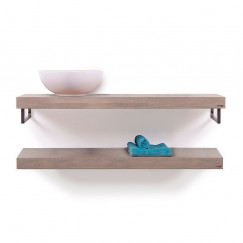 Looox Wood Collection shelf duo 100 cm. handdoekhouder eiken, old grey Eiken Old Grey WBDUO100MZ