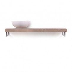 Looox Wood Collection shelf solo 120cm handdoekhouder li. eiken old grey Eiken Old Grey WBSOLOL120RVS