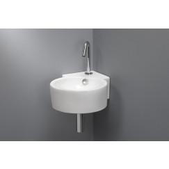 Novio Fontana hoekfontein 44,5x31x13 cm. m/overloop wit Wit