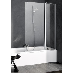 Kermi Pega badvouwwand re. 110x150cm zilver glans-helder glas Glans Zilver PEDTR11015VAK