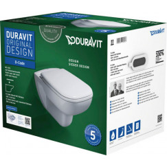 Duravit D-code pack wandcloset met softclose zitting wit Wit 45700900A1