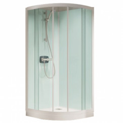 Kinedo Kineprime Glass kwartr.cabine 90 schuif+therm.douchebak 9 wit-held Wit CA762TTN
